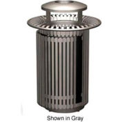 Petersen Breckenridge Series 32 Gallon Metal Waste Receptacle w/Dome Top/Snuffer - Black - BRKTA32