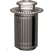 Petersen Breckenridge Series 32 Gallon Metal Waste Receptacle w/ Dome Top/Snuffer - Gray - BRKTA32