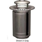 Petersen Breckenridge Series 32 Gallon Metal Waste Receptacle w/Dome Top/Snuffer - Green - BRKTA32