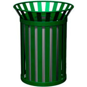 Petersen Broadway Series 32 Gallon Metal Waste Receptacle - Green - Broadway-Pro Green