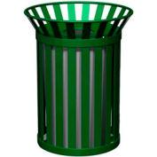 Petersen Broadway Series 32 Gallon Metal Waste Receptacle - Green - Broadway-Pro Green
