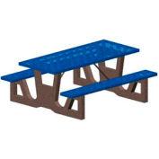"72"" Gray Concrete Table Frame w/ Blue Steel Mesh Seat & Top"