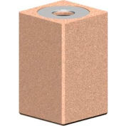 Square 22 Gal. Concrete Receptacle with Aluminum Lid - Tan