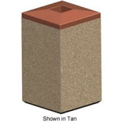 Square 22 Gal. Concrete Receptacle with Plastic Lid - Gray