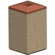 Square 22 Gal. Concrete Receptacle with Plastic Lid - Tan