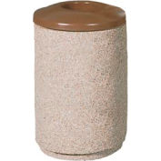 Round 36 Gal. Concrete Trash Receptacle with Aluminum Lid - Tan