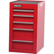 "Proto® 450HS Side Cabinet - 5 Drawer, Red, 19-1/2""L X 34""H X 25""D"