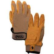 Petzl® Cordex Belay/Rappel Gloves, Leather/Nylon, Tan, Small, 1-Pair