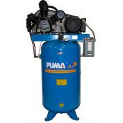 Puma TUE-7580VM, 7.5HP, Two-Stage Compressor, 80 Gallon, Vertical, 175 PSI, 22 CFM, 1-Phase 208-230V