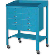 """36""""W x 30""""D Open Steel Shop Desk with Eight Drawers - Putty"""