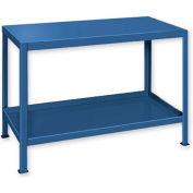 """Heavy Duty Machine Table w/ 2 Shelves - 60""""W x 24""""D Blue"""
