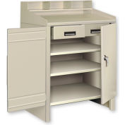 3 Shelf Cabinet Shop Desk w/ 2 Drawers Gray