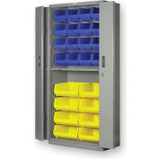 "Pucel BiFold Door Bin Cabinet BDSC-3678-18 - 36""W x 18""D x 78""H Putty With 24 Yellow Bins"