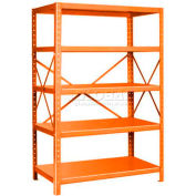 "Pucel™ Shelving Unit, 42""W x 72""H x 18""D, 5 Levels, 14 GA Shelves, 10 GA Posts, Orange"