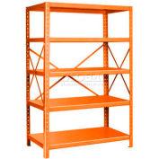 "Pucel™ Shelving Unit, 42""W x 72""H x 18""D, 5 Levels, 14 GA Shelves, 10 GA Posts, Orange"