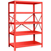 "Pucel™ Shelving Unit, 42""W x 72""H x 18""D, 5 Levels, 14 GA Shelves, 10 GA Posts, Red"
