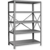 """Pucel™ Shelving Unit, 42""""W x 72""""H x 18""""D, 5 Levels, 14 GA Shelves, 10 GA Posts, Black"""