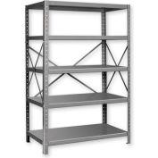 """Pucel™ Shelving Unit, 42""""W x 72""""H x 18""""D, 5 Levels, 14 GA Shelves, 10 GA Posts, Gray"""