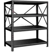 "Pucel™ Shelving Unit, 48""W x 60""H x 24""D, 4 Levels, 14 GA Shelves, 10 GA Posts, Black"