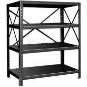 """Pucel™ Shelving Unit, 48""""W x 60""""H x 24""""D, 4 Levels, 14 GA Shelves, 10 GA Posts, Black"""