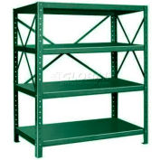 "Pucel™ Shelving Unit, 48""W x 60""H x 24""D, 4 Levels, 14 GA Shelves, 10 GA Posts, Dark Green"