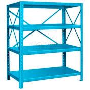 "Pucel™ Shelving Unit, 48""W x 60""H x 24""D, 4 Levels, 14 GA Shelves, 10 GA Posts, Light Blue"