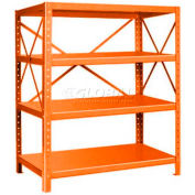 "Pucel™ Shelving Unit, 48""W x 60""H x 24""D, 4 Levels, 14 GA Shelves, 10 GA Posts, Orange"