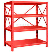 "Pucel™ Shelving Unit, 48""W x 60""H x 24""D, 4 Levels, 14 GA Shelves, 10 GA Posts, Red"