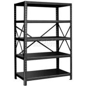 "Pucel™ Shelving Unit, 48""W x 72""H x 24""D, 5 Levels, 14 GA Shelves, 10 GA Posts, Black"