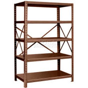 "Pucel™ Shelving Unit, 48""W x 72""H x 24""D, 5 Levels, 14 GA Shelves, 10 GA Posts, Dark Brown"