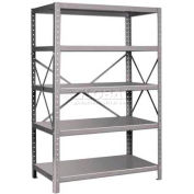 "Pucel™ Shelving Unit, 48""W x 72""H x 24""D, 5 Levels, 14 GA Shelves, 10 GA Posts, Gray"