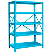 "Pucel™ Shelving Unit, 48""W x 72""H x 24""D, 5 Levels, 14 GA Shelves, 10 GA Posts, Light Blue"