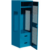 "All Welded Gear Locker w/Bottom 2 Drawers & Perforated Door, 24""W x 18""D x 72""H, Blue"