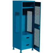 "All Welded Gear Locker w/Bottom 2 Drawers, Perforated Door & Legs, 24""W x 18""D x 72""H, Blue"