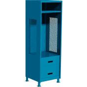 """All Welded Gear Locker w/Bottom 2 Drawers & Legs, 24""""W x 18""""D x 72""""H, Blue"""