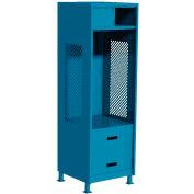 """All Welded Gear Locker w/Top Shelf Cabinet, Bottom 2 Drawers & Legs, 24""""W x 18""""D x 72""""H, Blue"""