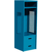 "All Welded Gear Locker w/Bottom 2 Drawers, 24""W x 24""D x 72""H, Blue"