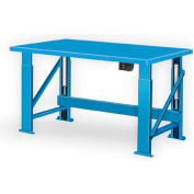 "Electric Hydraulic Bench w/ Steel Top - 120""W x 28""D Blue"
