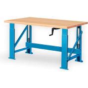 """Manual Hydraulic Bench w/ Wood Top - 72""""W x 36""""D Blue"""