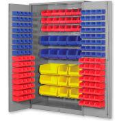 """Pucel All Welded Plastic Bin Cabinet Flush Doors w/171 Blue Bins, 48""""W x 24""""D x 78""""H, Gray"""