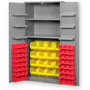 "Pucel All Welded Plastic Bin Cabinet Flush Doors w/84 Red Bins, 48""W x 24""D x 78""H, Putty"