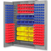 "Pucel All Welded Plastic Bin Cabinet Flush Doors w/227 Red Bins, 60""W x 24""D x 84""H, Putty"