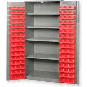 "Pucel All Welded Plastic Bin Cabinet Flush Doors w/170 Red Bins, 60""W x 24""D x 84""H, Black"