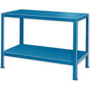 "Extra Heavy Duty Work Table w/ 2 Shelves - 48""W x 24""D Blue"