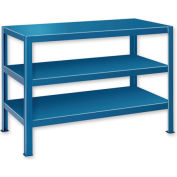 "Extra Heavy Duty Work Table w/ 3 Shelves - 48""W x 28""D Blue"