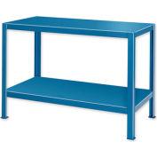 "Extra Heavy Duty Work Table w/ 2 Shelves - 60""W x 34""D Blue"