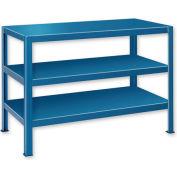 "Extra Heavy Duty Work Table w/ 3 Shelves - 72""W x 34""D Blue"