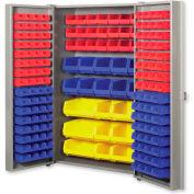 """Pucel All Welded Plastic Bin Cabinet Pocket Doors w/132 Red Bins, 38""""W x 24""""D x 72""""H, Light Blue"""