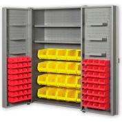 """Pucel All Welded Plastic Bin Cabinet Pocket Doors w/84 Red Bins, 48""""W x 24""""D x 72""""H, Light Blue"""