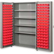 """Pucel All Welded Plastic Bin Cabinet Pocket Doors w/128 Red Bins, 48""""W x 24""""D x 72""""H, Gray"""